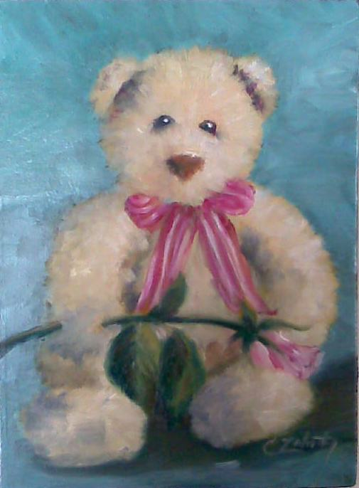 """""""Christmas Bear"""" original fine art by Catherine Zakutney"""