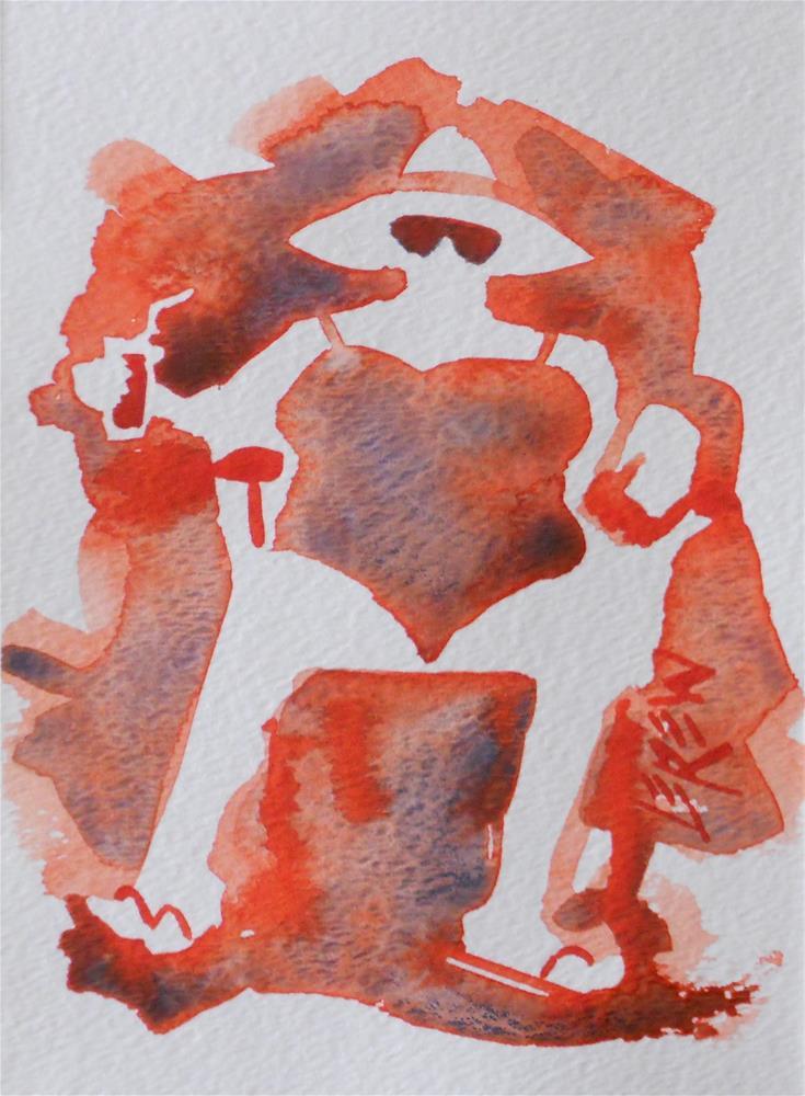 """Happy Drinking Red Beach Chair Lady #140221 Larry Lerew"" original fine art by Larry Lerew"