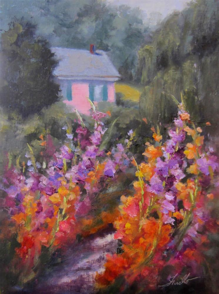 """Giverny Gladiolus"" original fine art by Pat Fiorello"