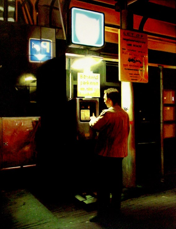 """Parking Automat- City Scene Of Man At Night"" original fine art by Gerard Boersma"