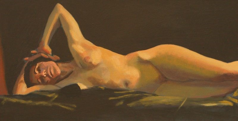 """Reclining nude"" original fine art by Peter Orrock"
