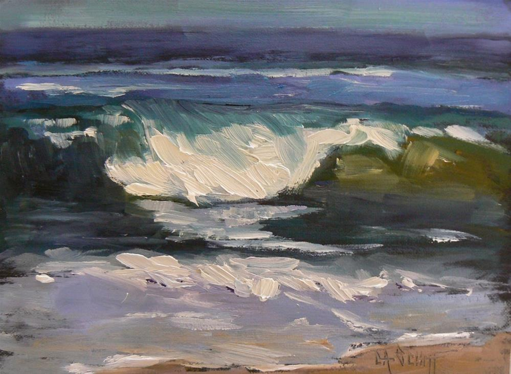 """""""Small Seascape, Green Wave 6x8 Oil"""" original fine art by Carol Schiff"""