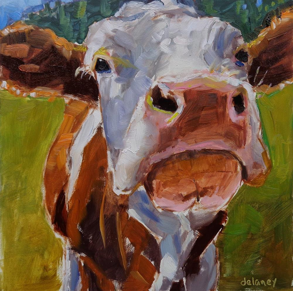 """Cow 140 OVER YONDER"" original fine art by Jean Delaney"