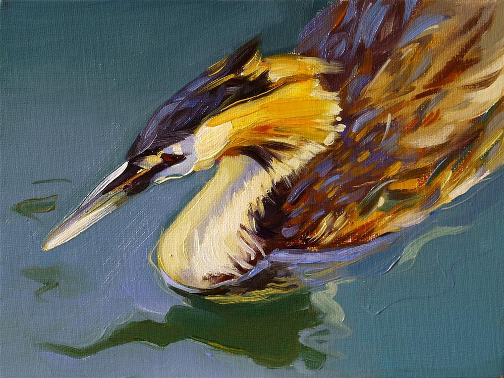 """grebe from Annecy"" original fine art by Beata Musial-Tomaszewska"