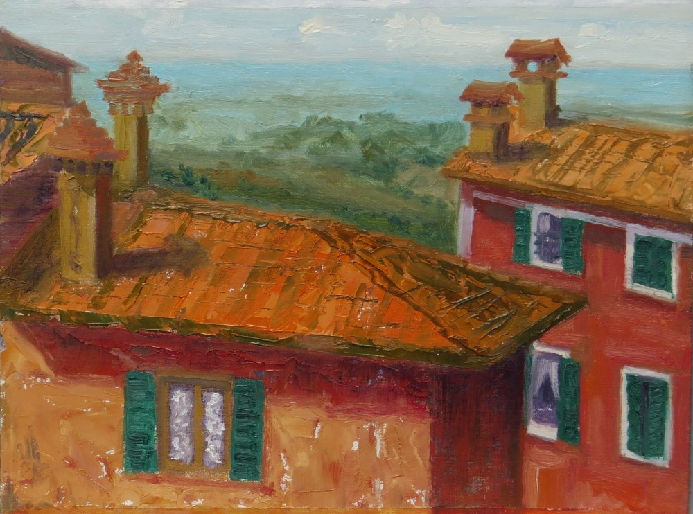 """Roof Top View in Tuscany"" original fine art by Richard Kiehn"