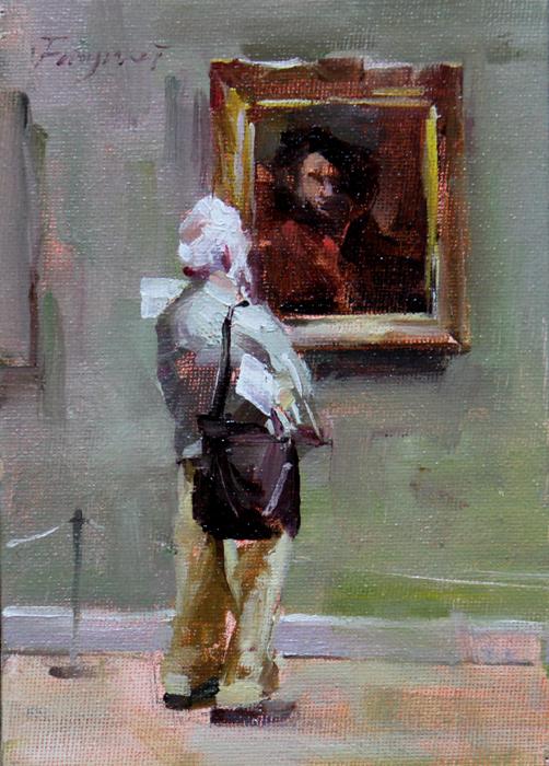 """""""Museum scene 2"""" original fine art by Fongwei Liu"""