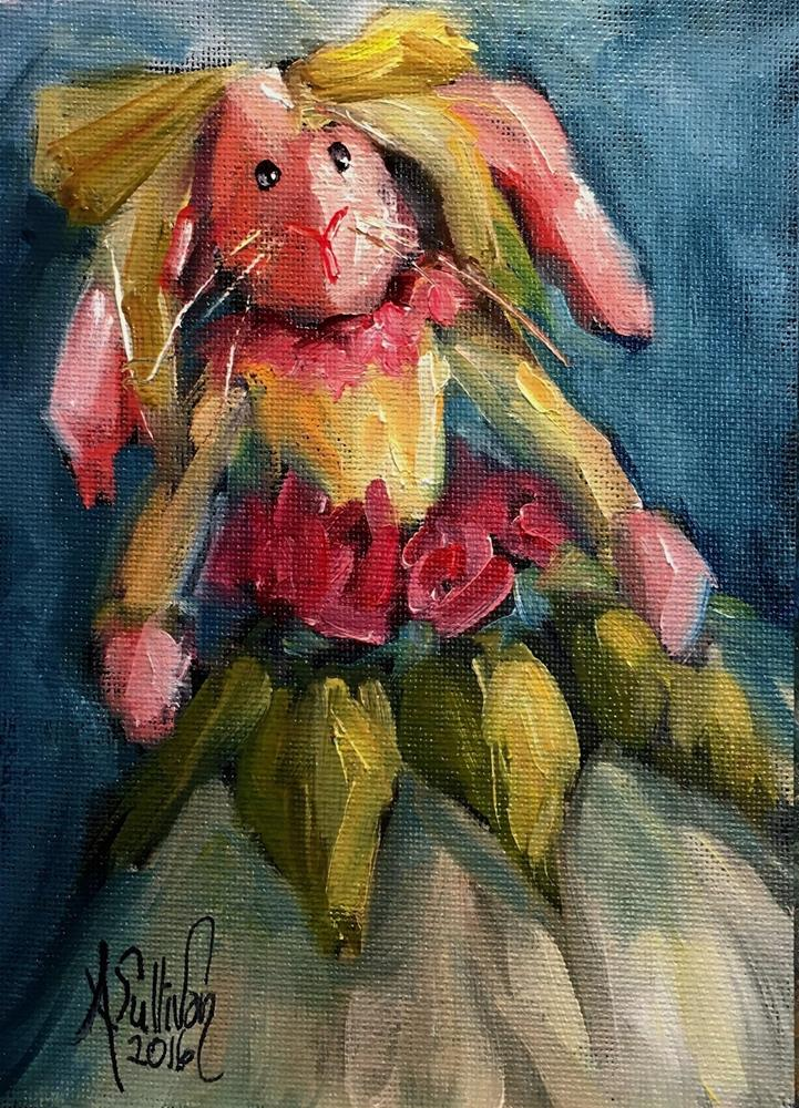 """Your No Bunny Till Some Bunny Loves You bunny painting by Alabama Artist Angela Sullivan"" original fine art by Angela Sullivan"