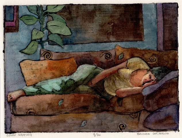 """Collograph: Couch Napping (& the Valencia Fine Art Festival this weekend)"" original fine art by Belinda Del Pesco"