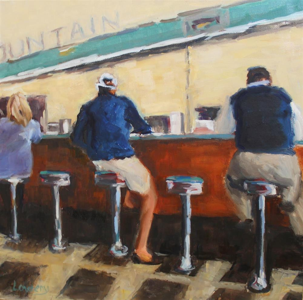 """Counter at Brent's"" original fine art by Wanda Lowery"