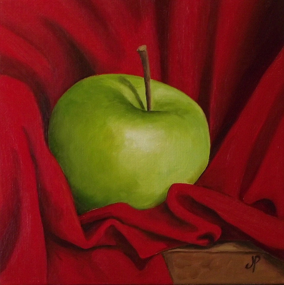 """Granny Smith in Red"" original fine art by Jane Palmer"