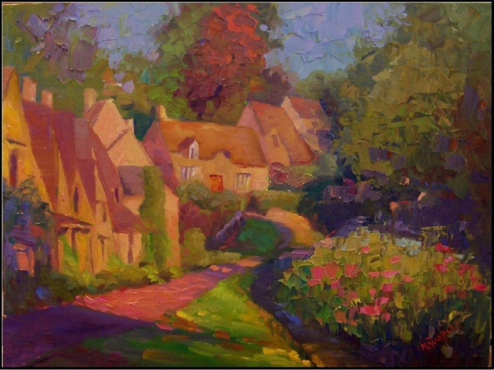 """Village in the Cotswolds"", 16x12, oil on linen- by Maryanne Jacobsen original fine art by Maryanne Jacobsen"