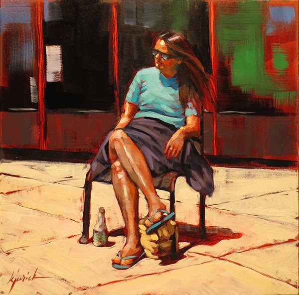 """Plaza Sunning"" original fine art by Karin Jurick"