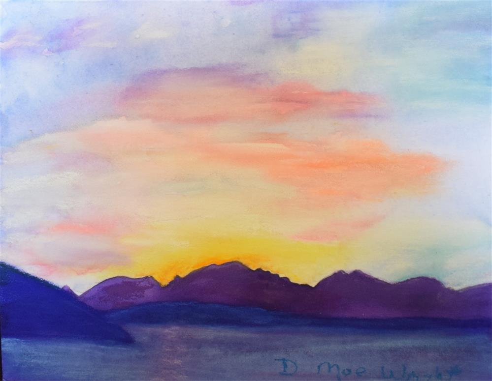 """Sunset over the Olympics"" original fine art by D Mae Wright"