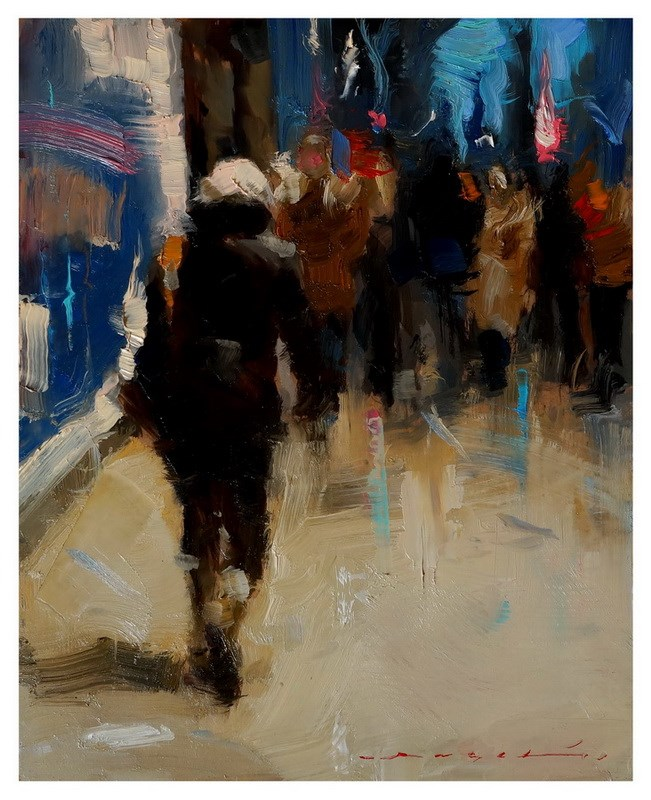 """18:25 - Urban Scene"" original fine art by Angel Angelov"
