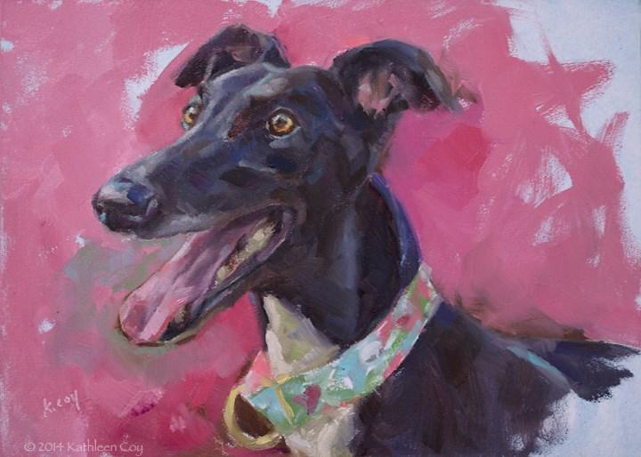 """""""Day 5 - Greyhound"""" original fine art by Kathleen Coy"""