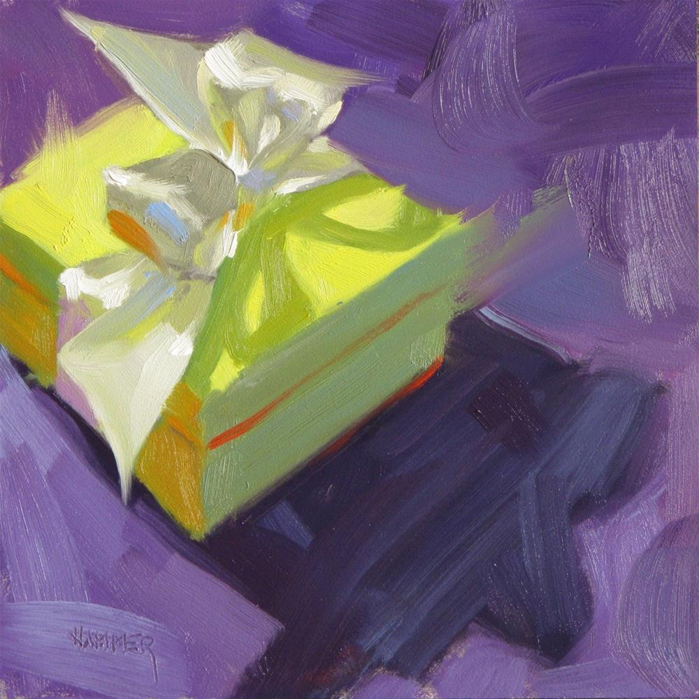 """Little Green Package 6 x 6  oil"" original fine art by Claudia Hammer"