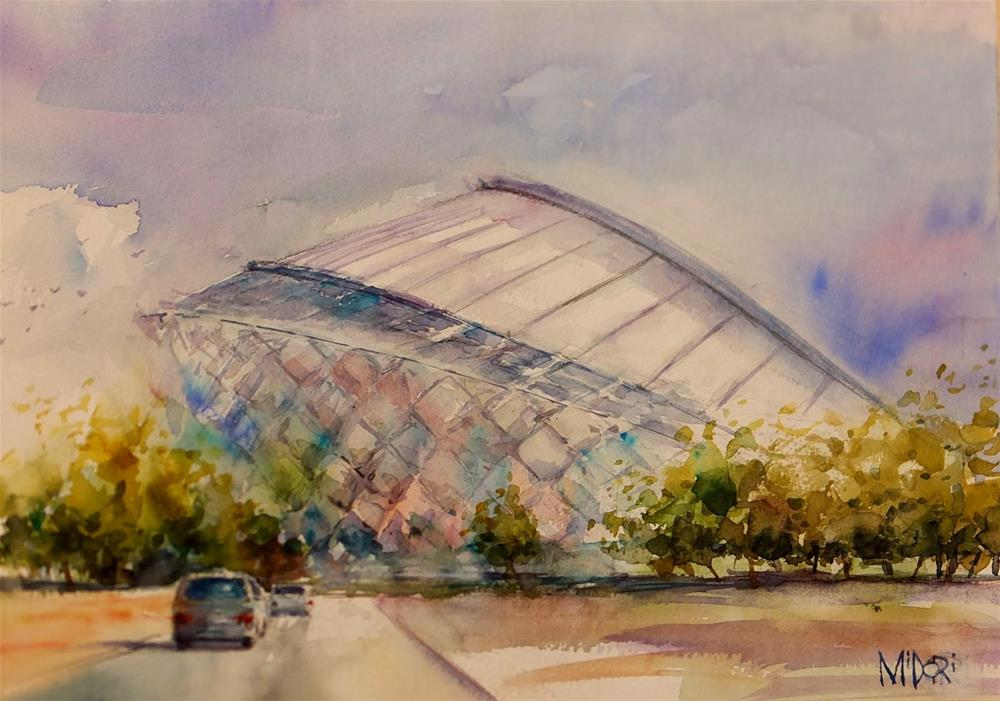 """Al Ain Stadium"" original fine art by Midori Yoshino"