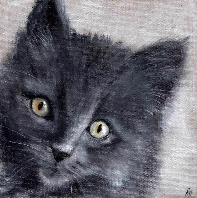 """Grey Kitten"" original fine art by Karen Robinson"