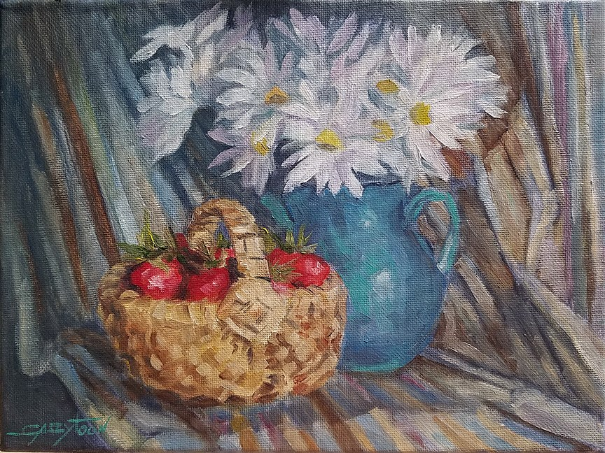 """Still Life With Strawberries"" original fine art by Gabriella DeLamater"