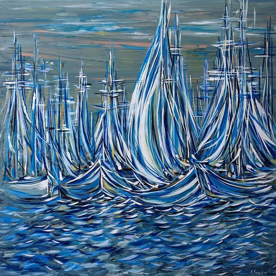 """Ready to Sail,original oceanart large on canvas"" original fine art by Khrystyna Kozyuk"