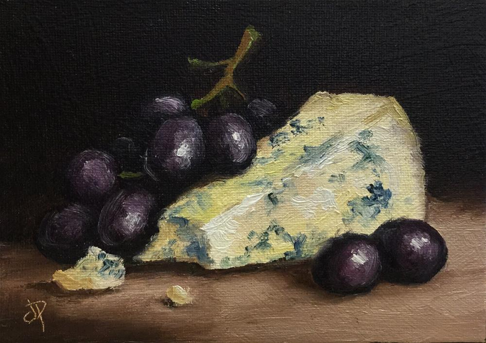 """Cheese and grapes"" original fine art by Jane Palmer"