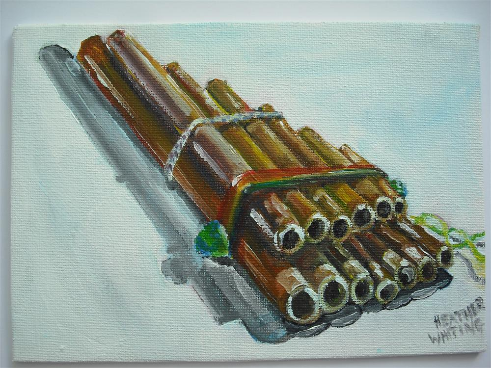 """Panpipes"" original fine art by Heather Whiting"