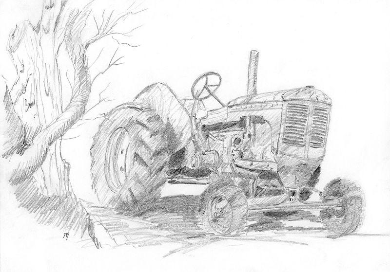 """Sketchy Tractor"" original fine art by David King"