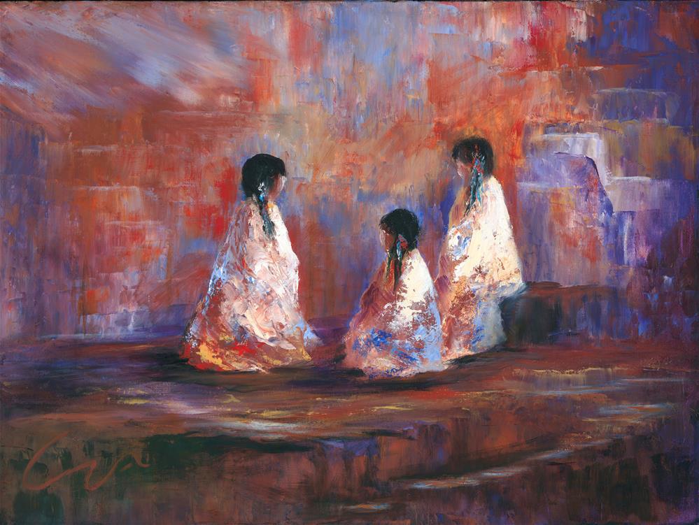 """The Story Teller"" original fine art by Sharon Abbott-Furze"