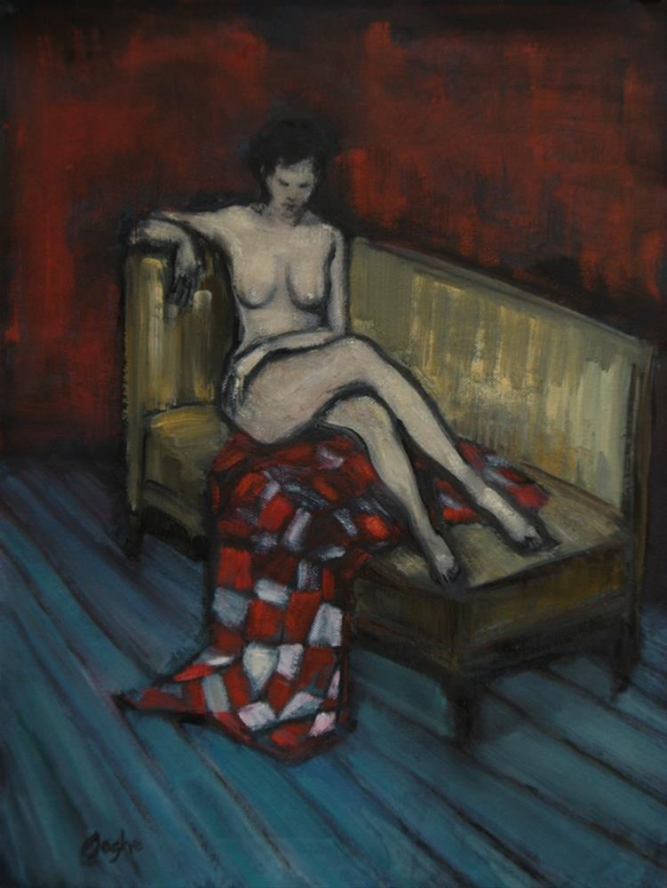 """Nude on Gold Couch"" original fine art by Angela Ooghe"