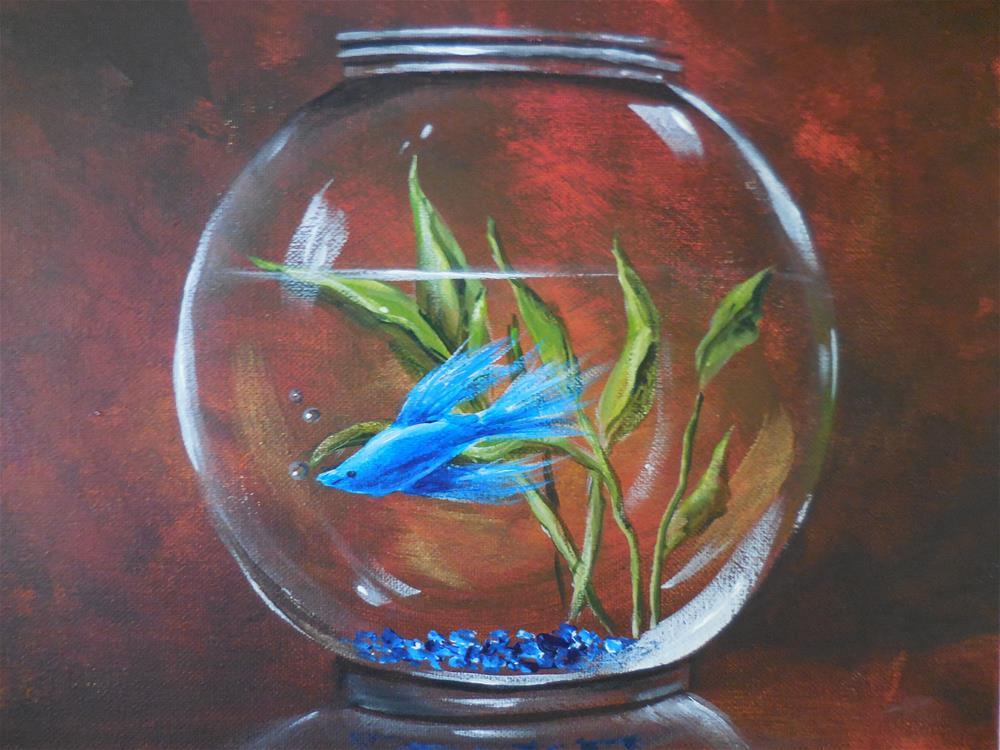 """Betta in a Bowl"" original fine art by Terri Nicholson"