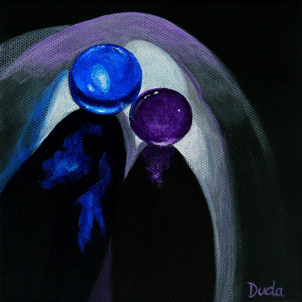 """Blue Shooter, Amethyst Aggie"" original fine art by Susan Duda"