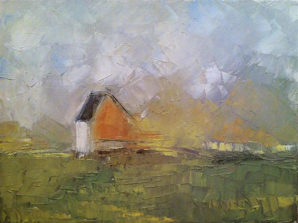 """""""house in field"""" original fine art by paul smith"""