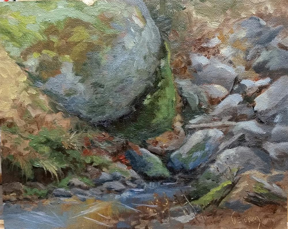 """Icy Creek en plein air"" original fine art by Veronica Brown"