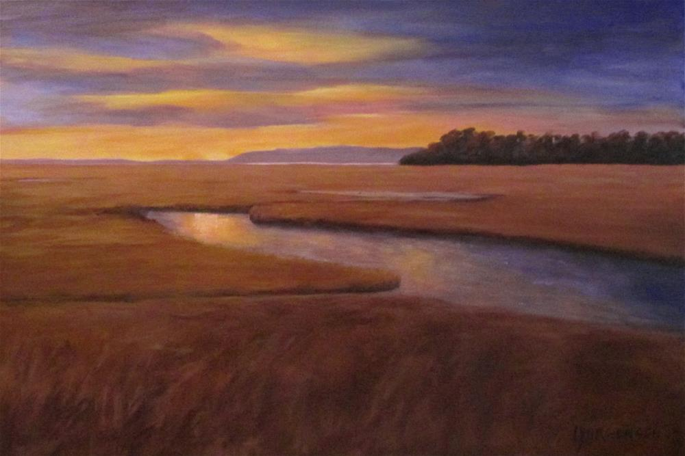 """20 x 30 inch acrylic Glow over the Marsh"" original fine art by Linda Yurgensen"
