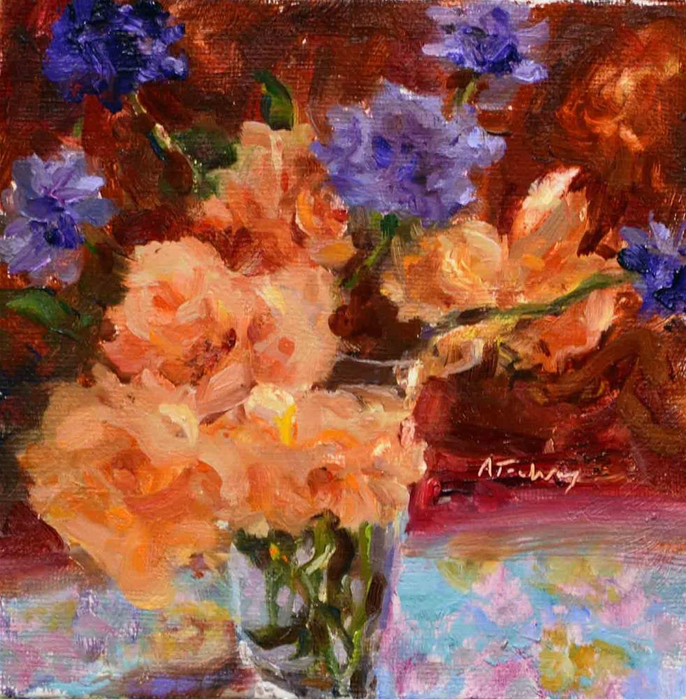 """Apricot Roses & Pincushions"" original fine art by alicia tredway"