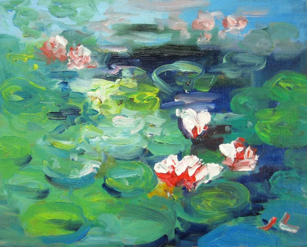 """Waterlilies in DBG"" original fine art by Julia Lu"