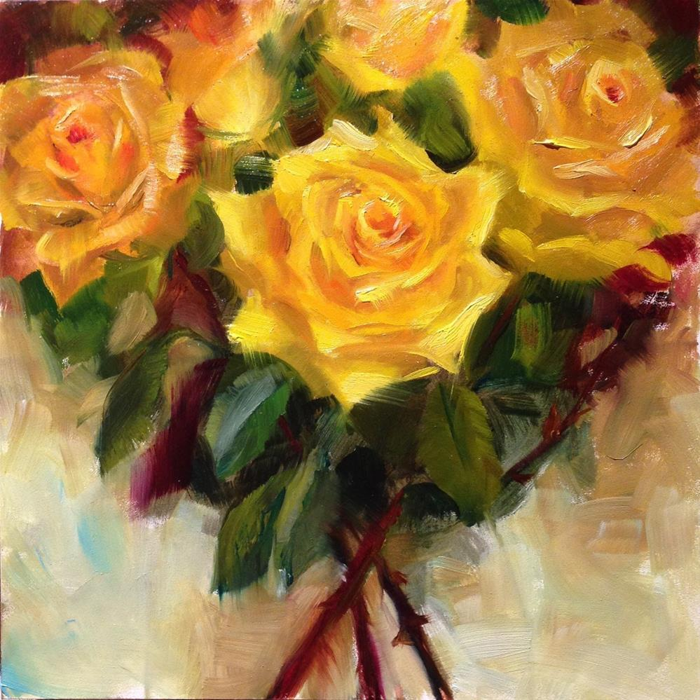 """Yellow Roses"" original fine art by Dorothy Woolbright"