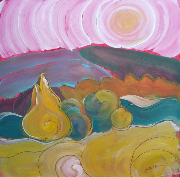 """""""Valley Morning 23 abstract landscape oil painting"""" original fine art by Pam Van Londen"""