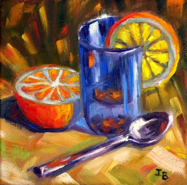 """Blue glass and orange"" original fine art by Irina Beskina"