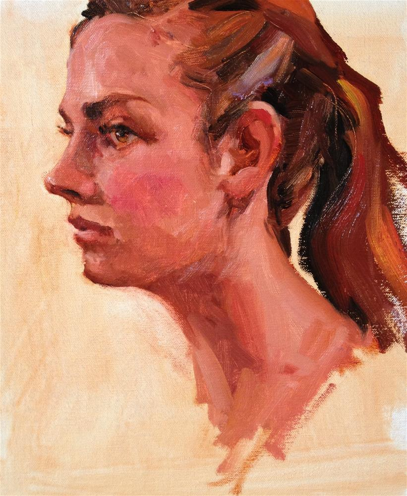 """The Girl with the Ponytail"" original fine art by Laurie Johnson Lepkowska"