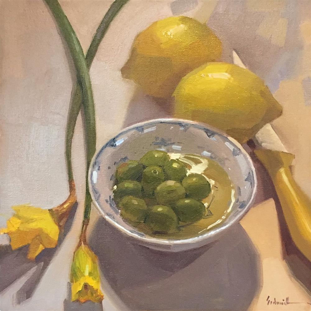 """A Dish of Green Olives"" original fine art by Sarah Sedwick"