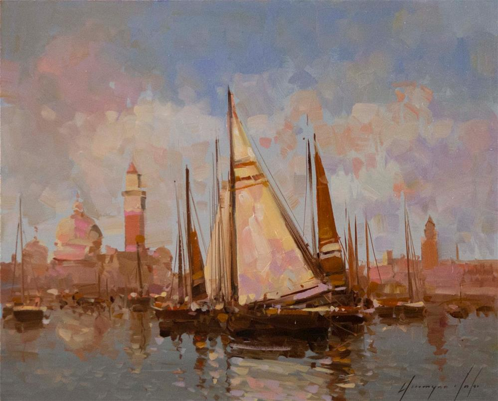 """VENICE SAIL BOATS"" original fine art by V Yeremyan"