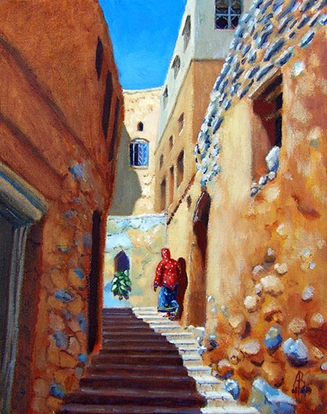 """Jebel Akhdar village, Oman"" original fine art by Alix Baker"