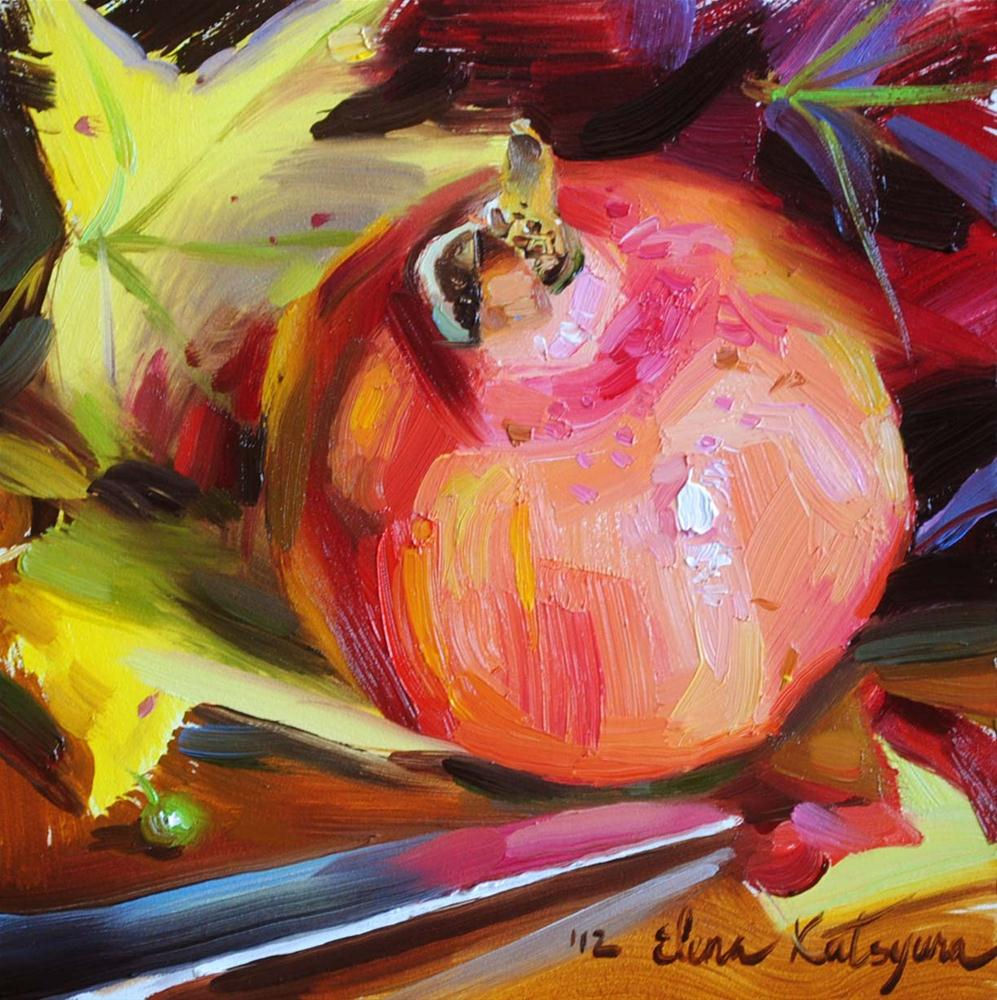 """Pomegranate and Autumn Leaves"" original fine art by Elena Katsyura"