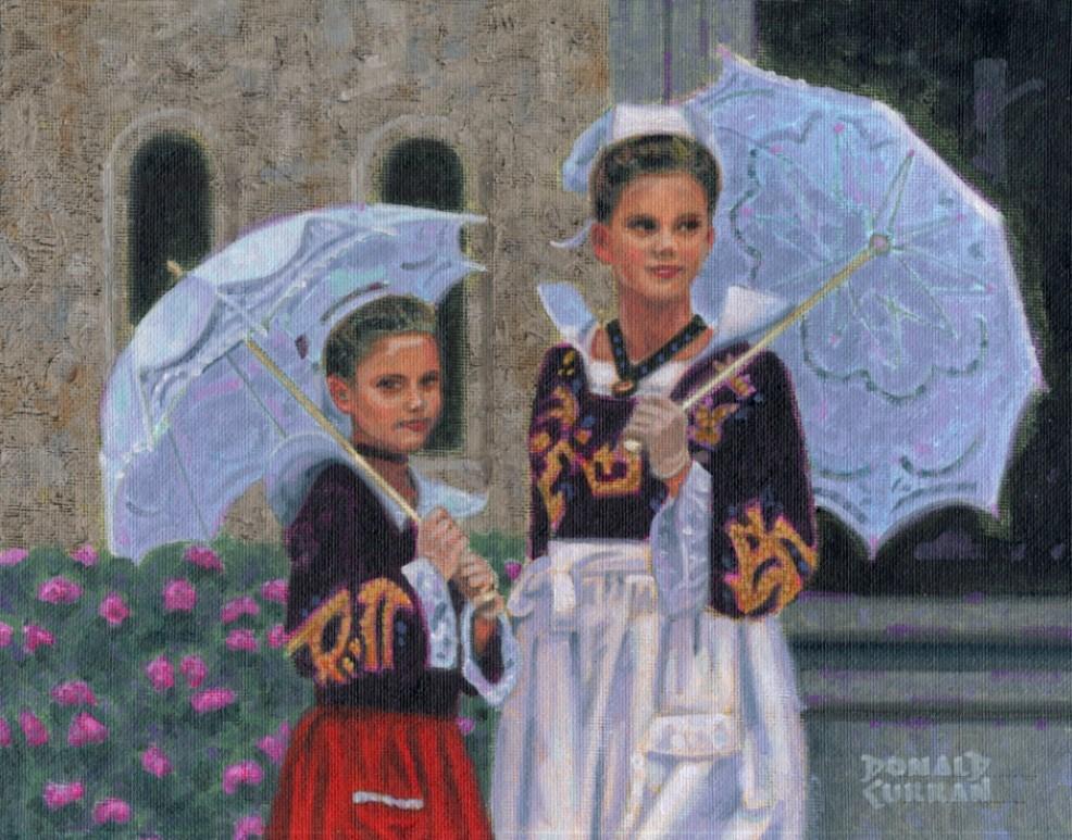 """Breton Girls"" original fine art by Donald Curran"