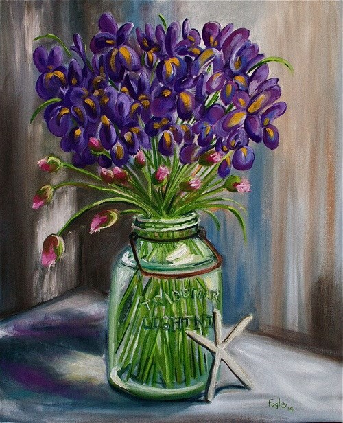 """Irises and Chives and Lightning"" original fine art by Rachel Fogle"