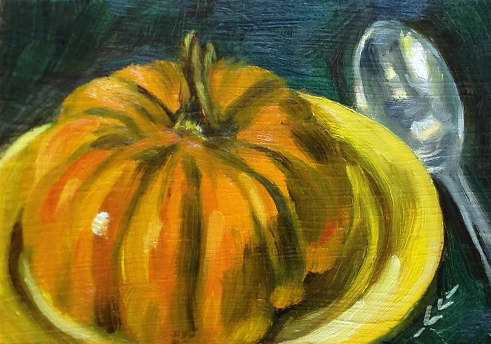 """Pumpkin on Yellow Plate"" original fine art by Linda Lowery"