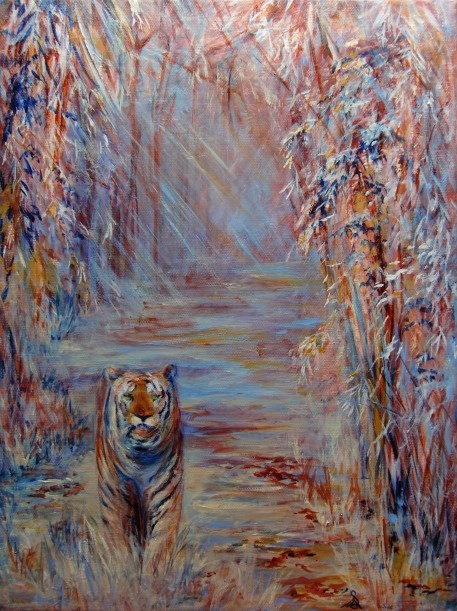 """3252 - Golden Tiger"" original fine art by Sea Dean"