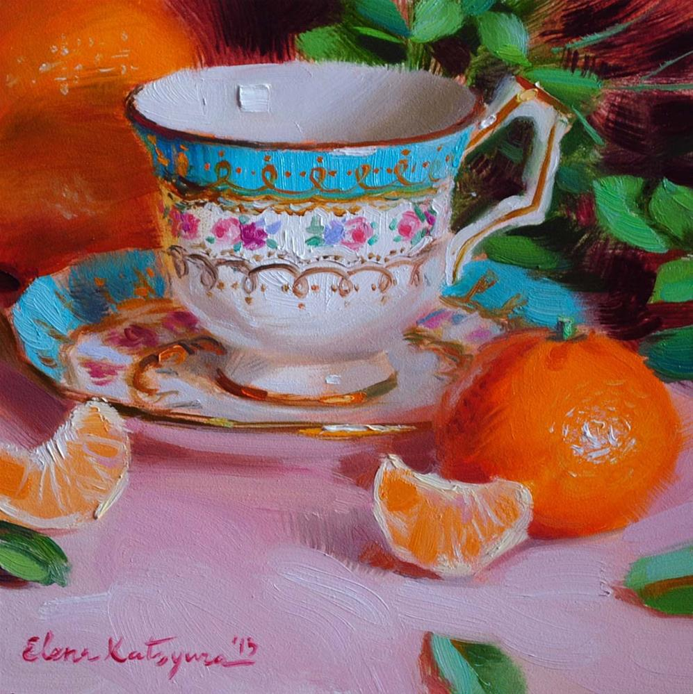 """Teacup and Oranges"" original fine art by Elena Katsyura"