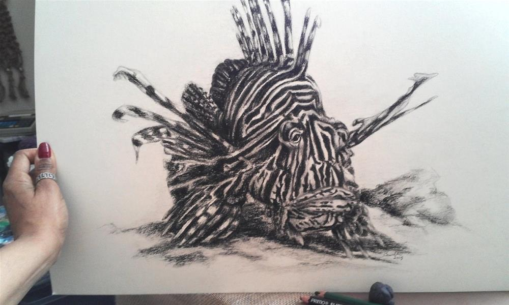 """Lionfish"" original fine art by Camille Morgan"